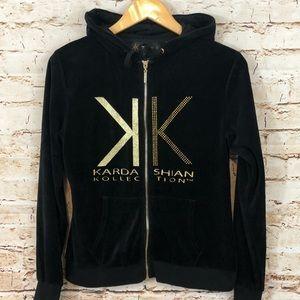 Kim Kardashian black hoodie zip jacket small bling